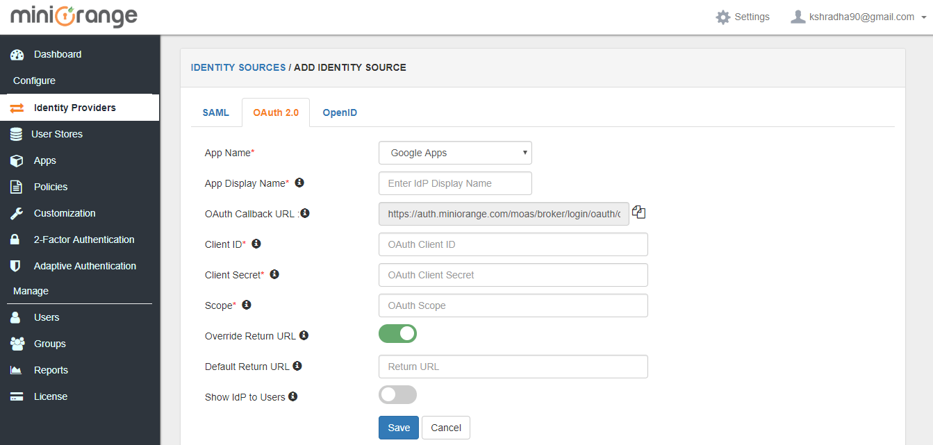 Setting Panel for OAuth Integration as Identity Provider