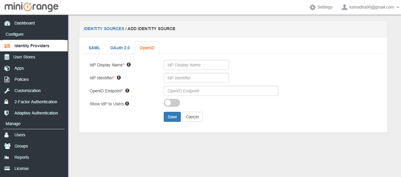 OpenID Integration settings