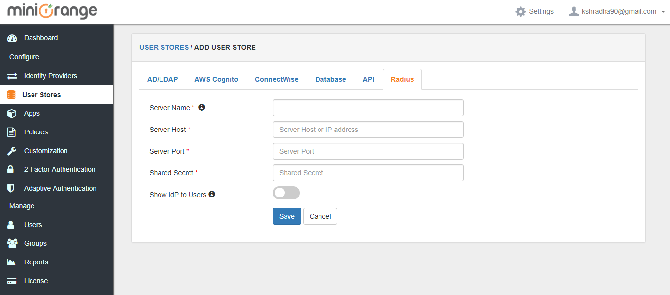 radius user store settings dashboard