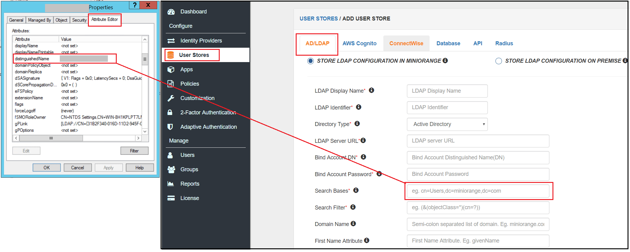 User Store Search Base