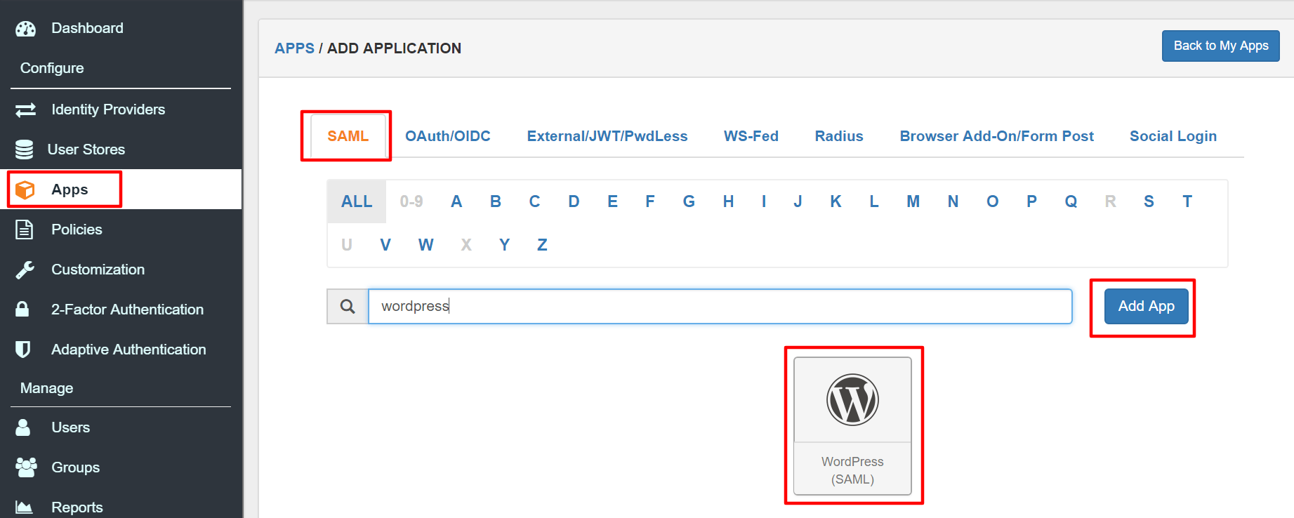 Apps Integration for WordPress as SP