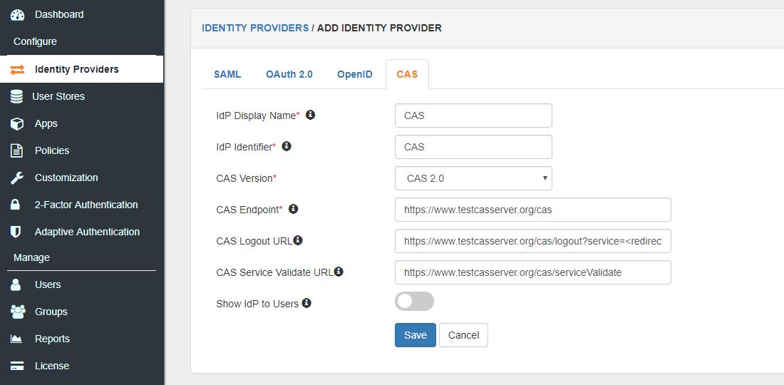 CAS server identity provider