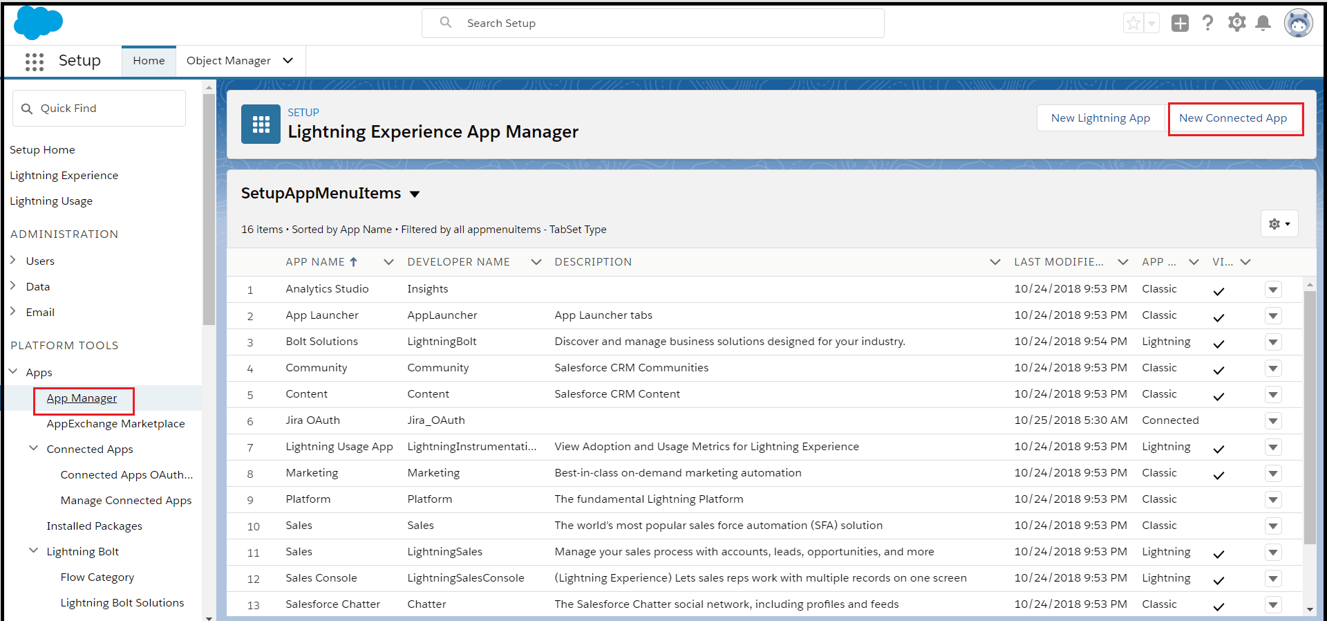 salesforce new connected app