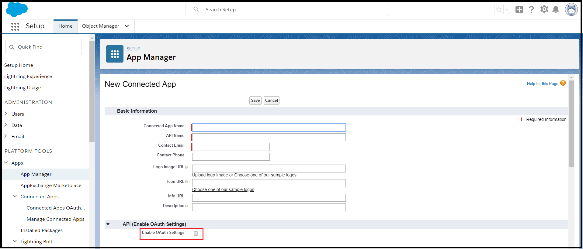 salesforce Enable Oauth setting
