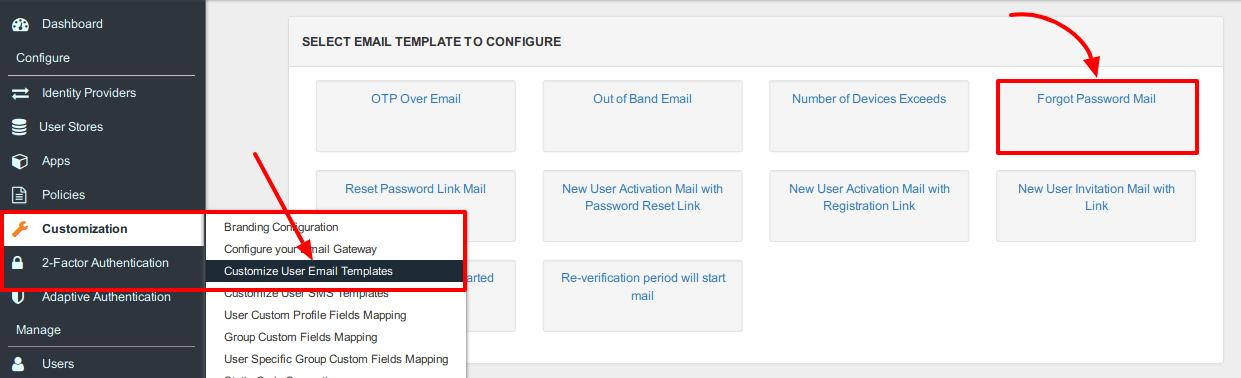 Forgot Password Mail Template Customization Miniorange Identity Server