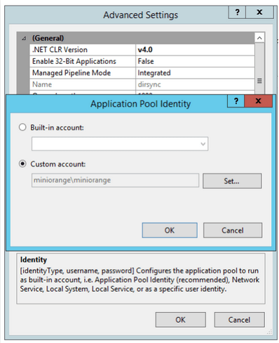 windows authentication for cloud apppool