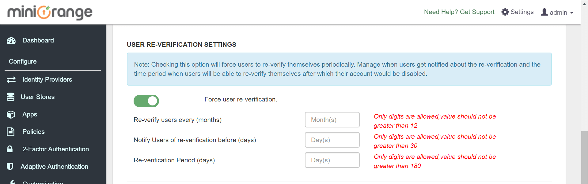 IDP User Re-Verification Settings