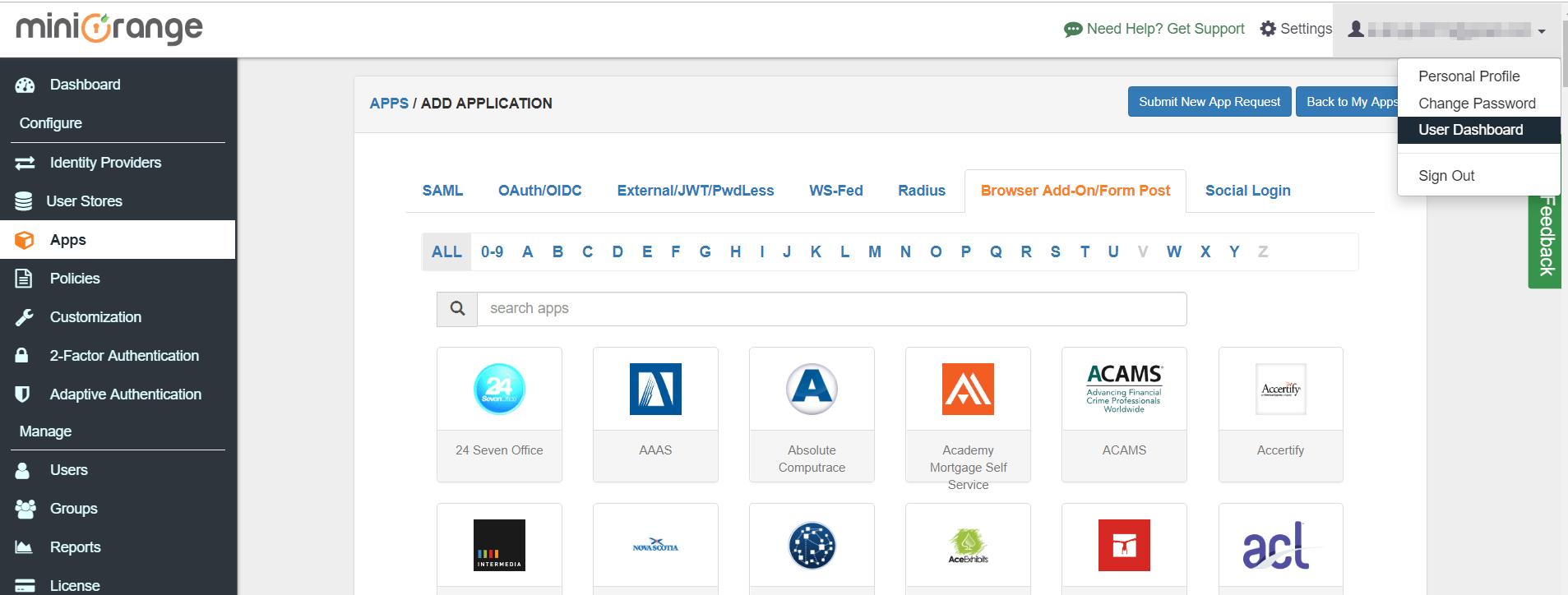 User Dashboard Browser SSO Apps