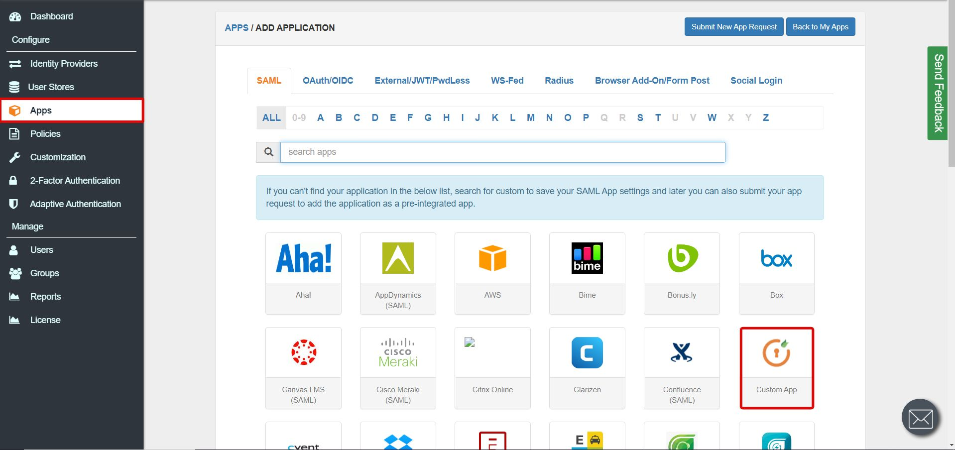 SAML tab Single Sign On for SAML Apps