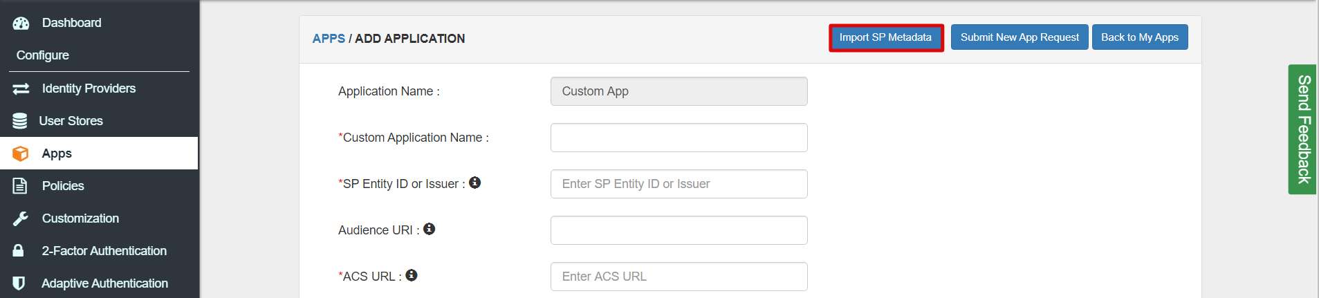 SAML upload XML file Single Sign On for SAML Apps