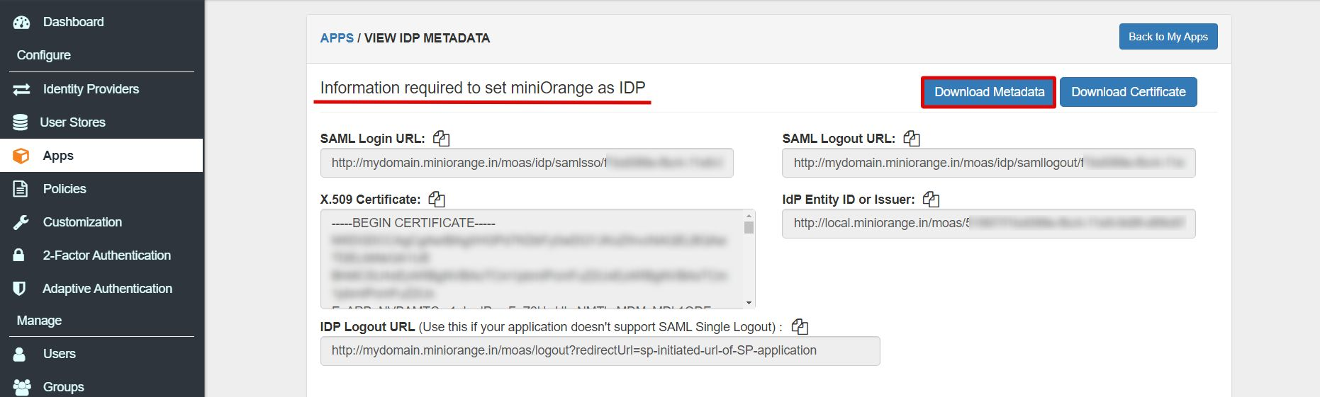 SAML metadata window Single Sign On for SAML Apps
