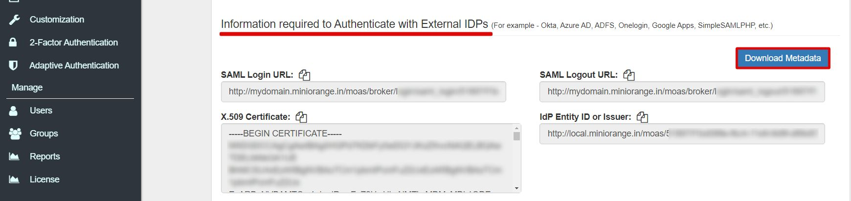 SAML external authentication Single Sign On for SAML Apps