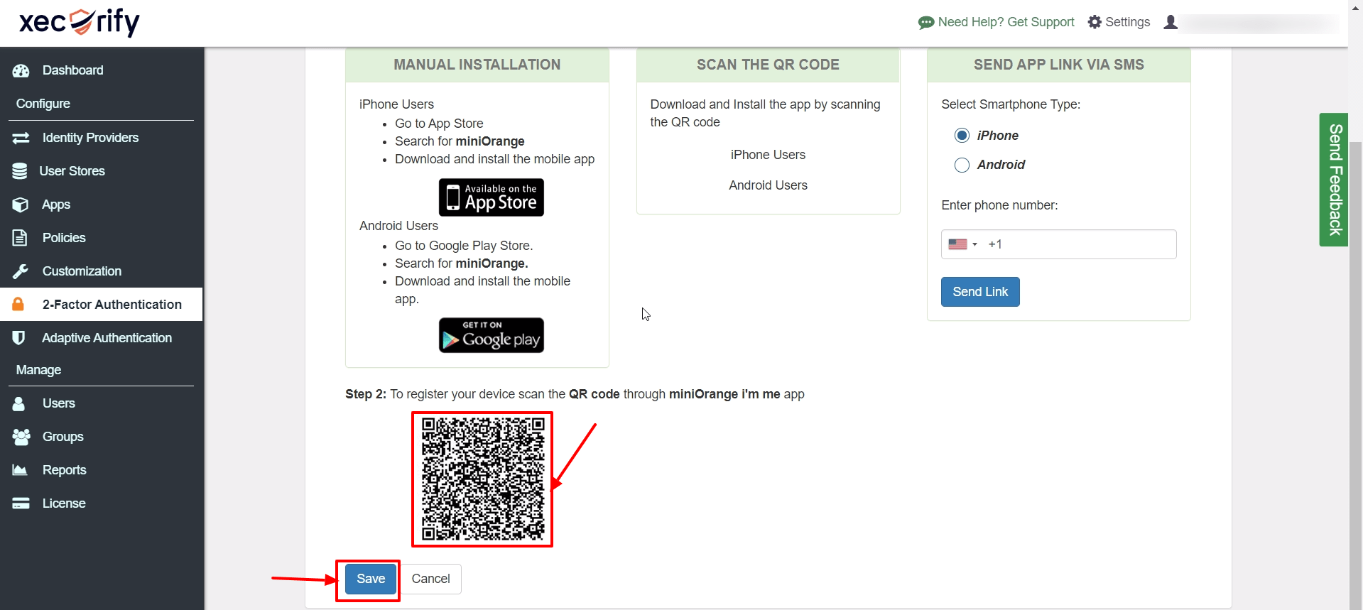 Select QR code 2FA method