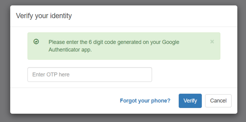 verify your identity as an admin by submitting OTP