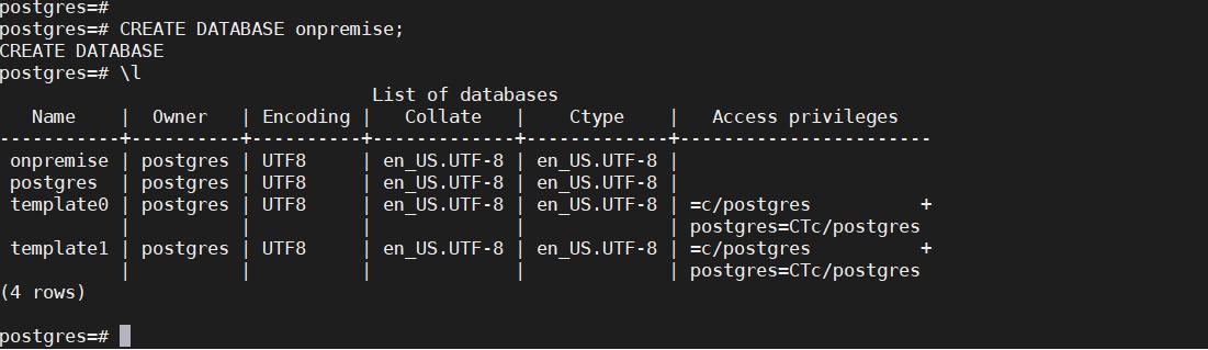 miniorange onpremise AWS create database