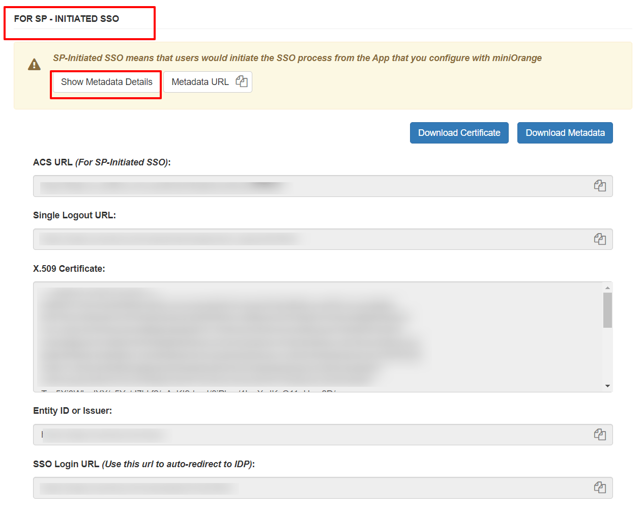 Salesforce sso SPintiatedMetadata