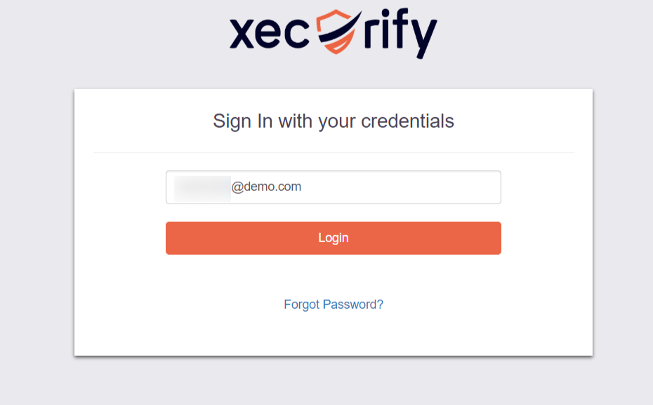 Selected IDP Login Page