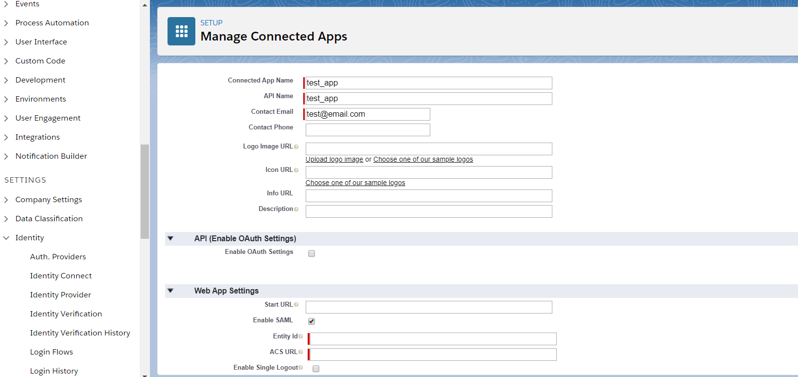 Salesforce saml Apps