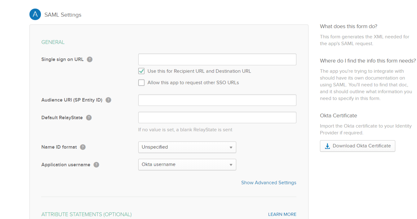 Okta Single Sign On SSO saml settings