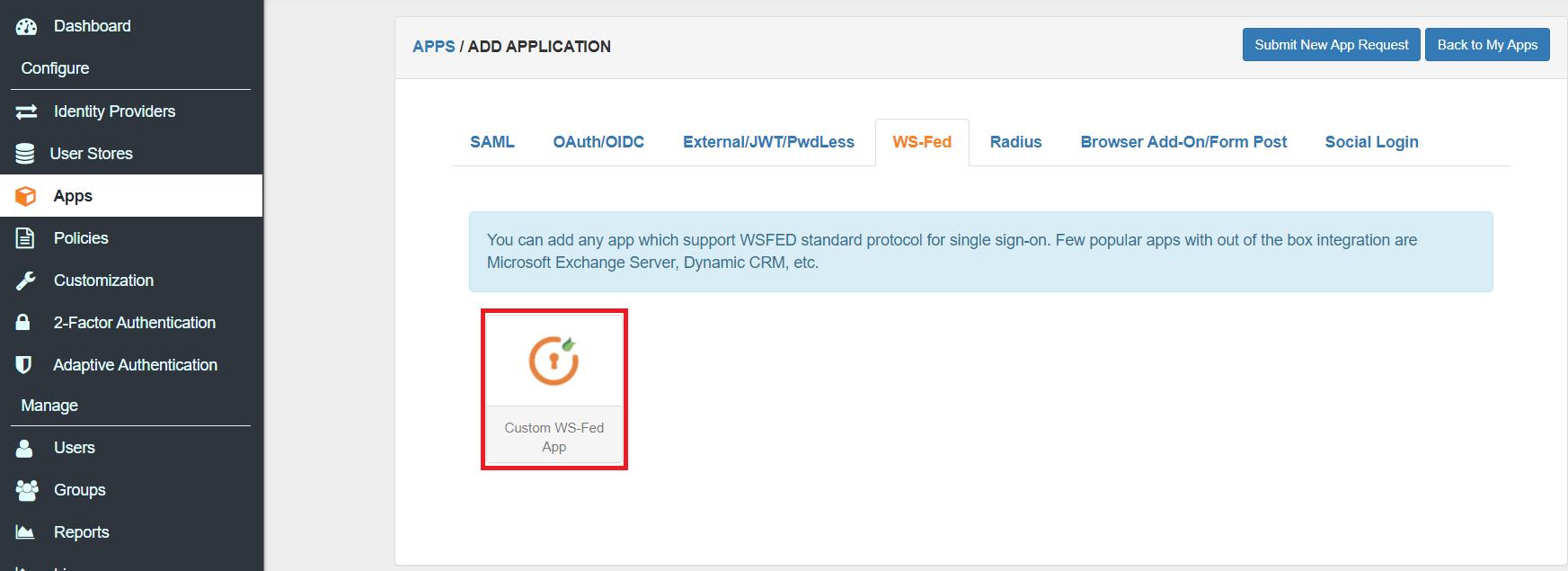 custom wsfed app adfs 2FA