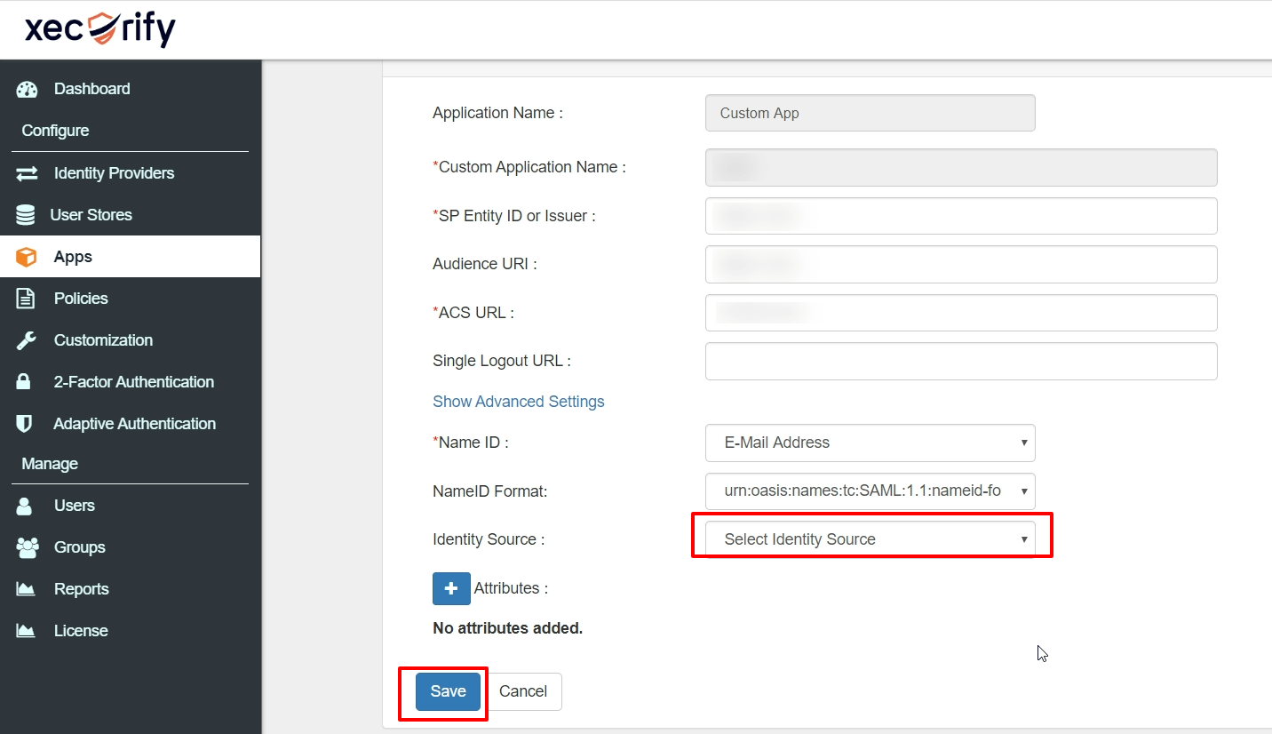 saml app identity source option