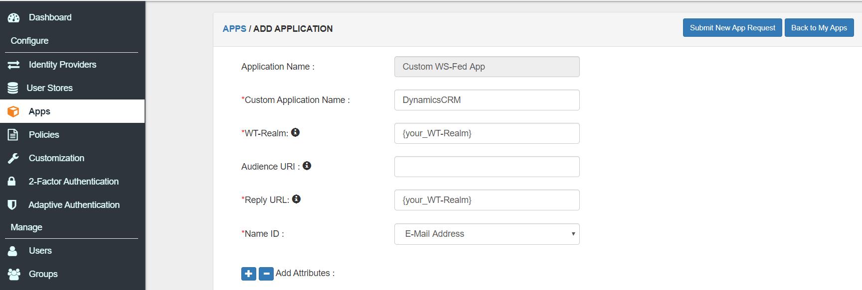 wsfed configuration adfs 2FA