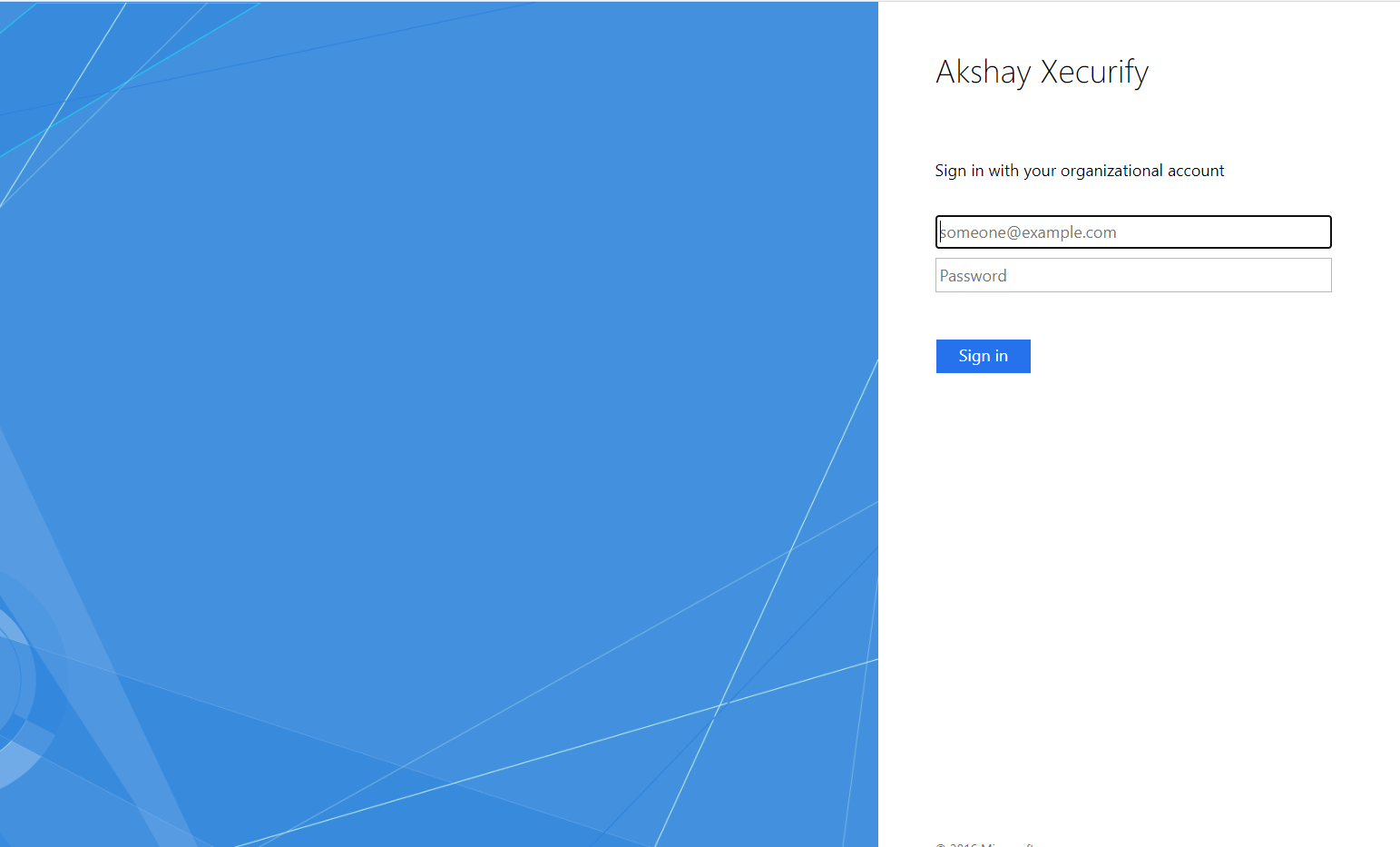 SSO Login Page for the selected domain