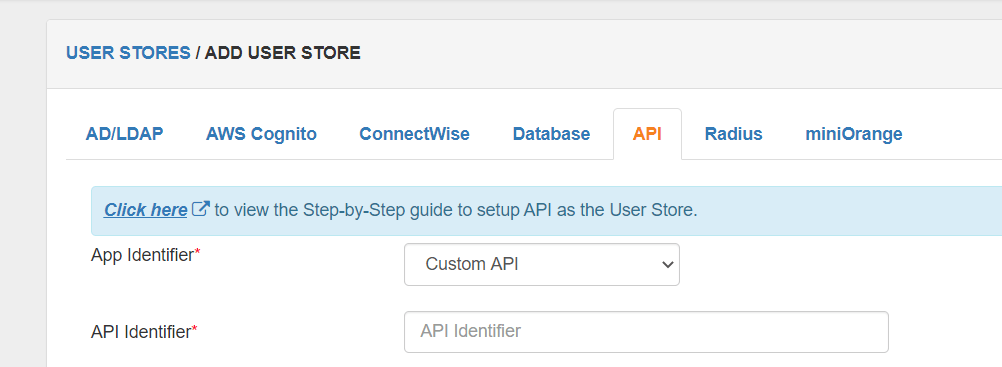 Switch to API configuration tab