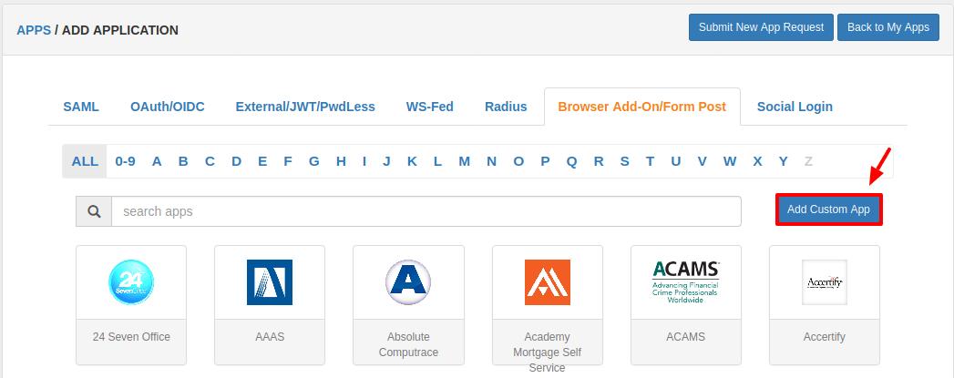 add custom Browser SSO Apps