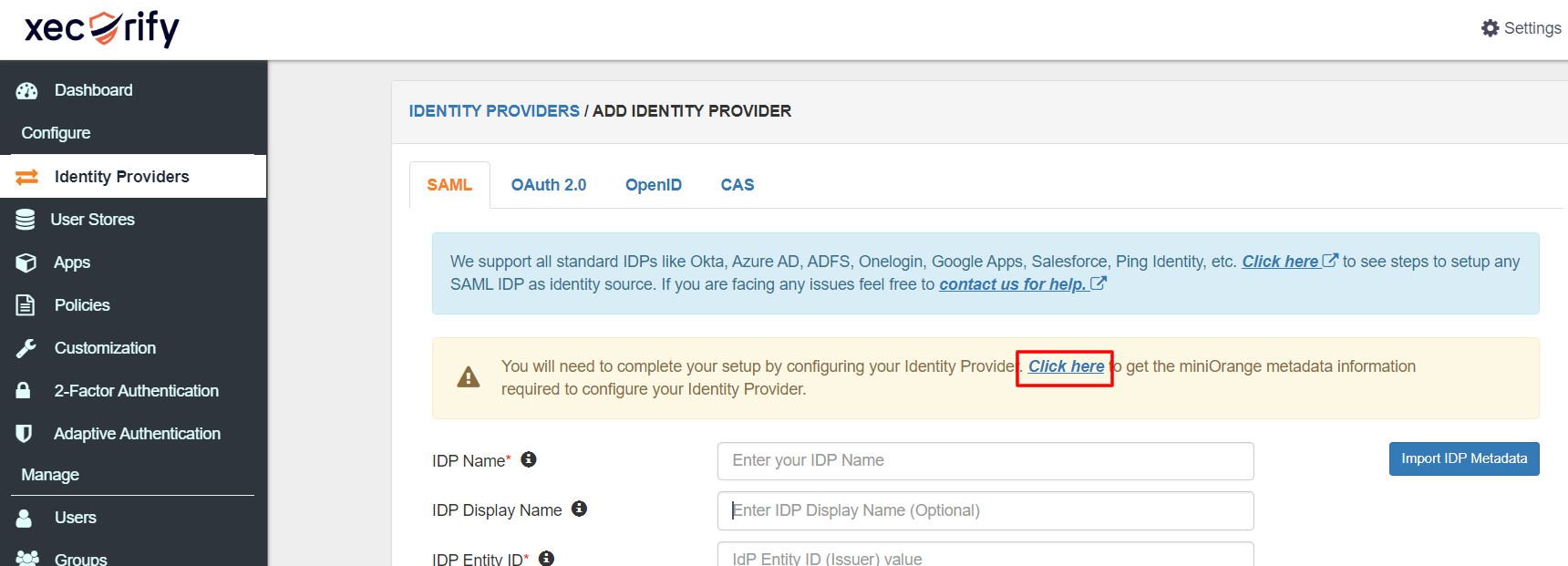 Salesforce sso get miniorange metadata