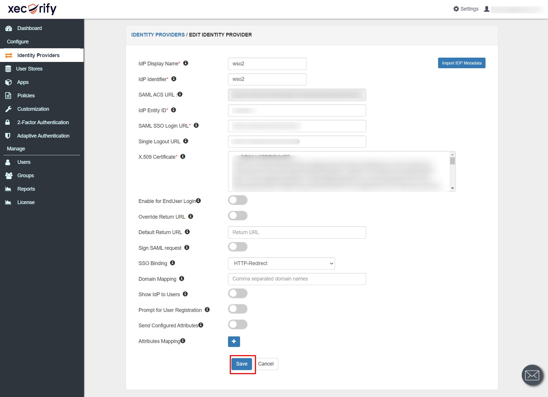 SAML SSO Login URL and x.509 Certificate