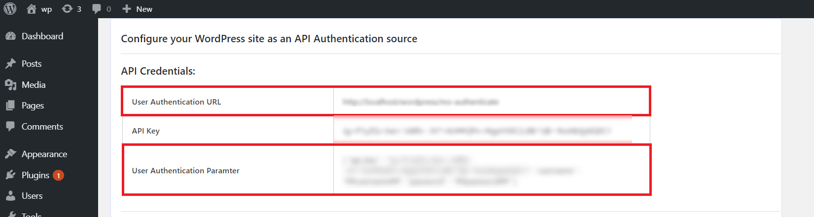 wordpress AS api authentication source api credentials