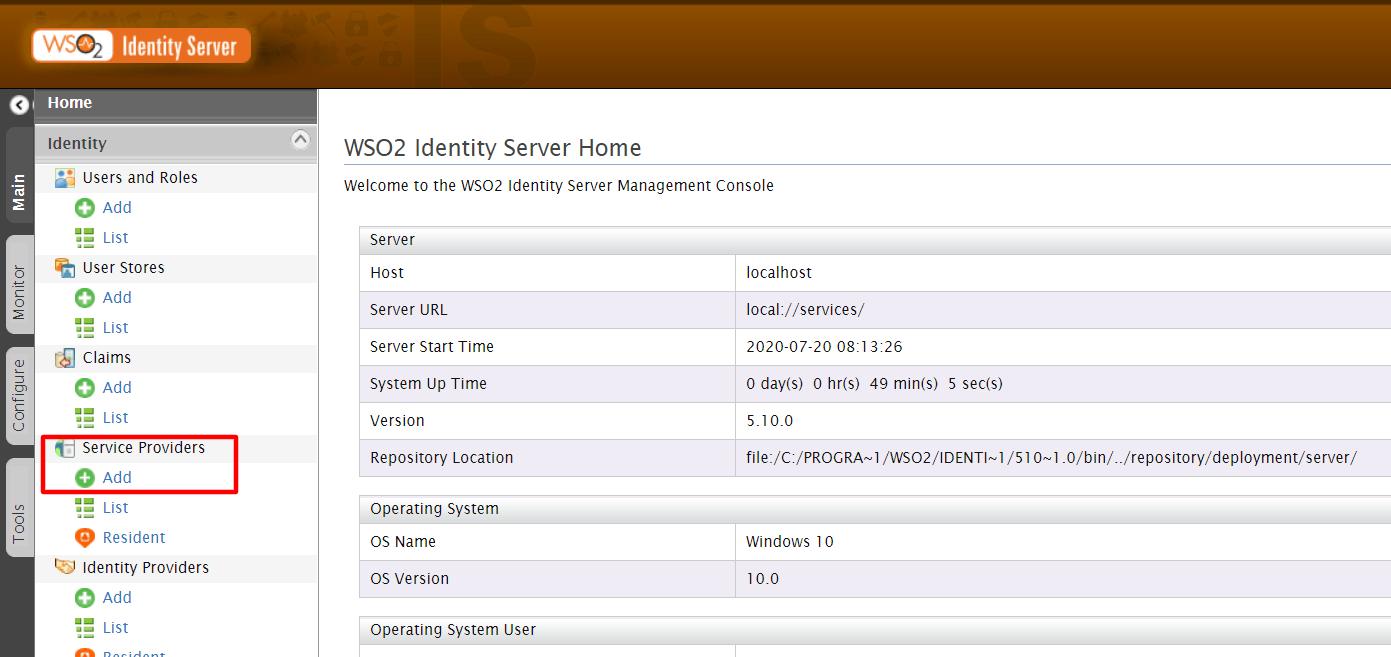 wso2 sso add service provider