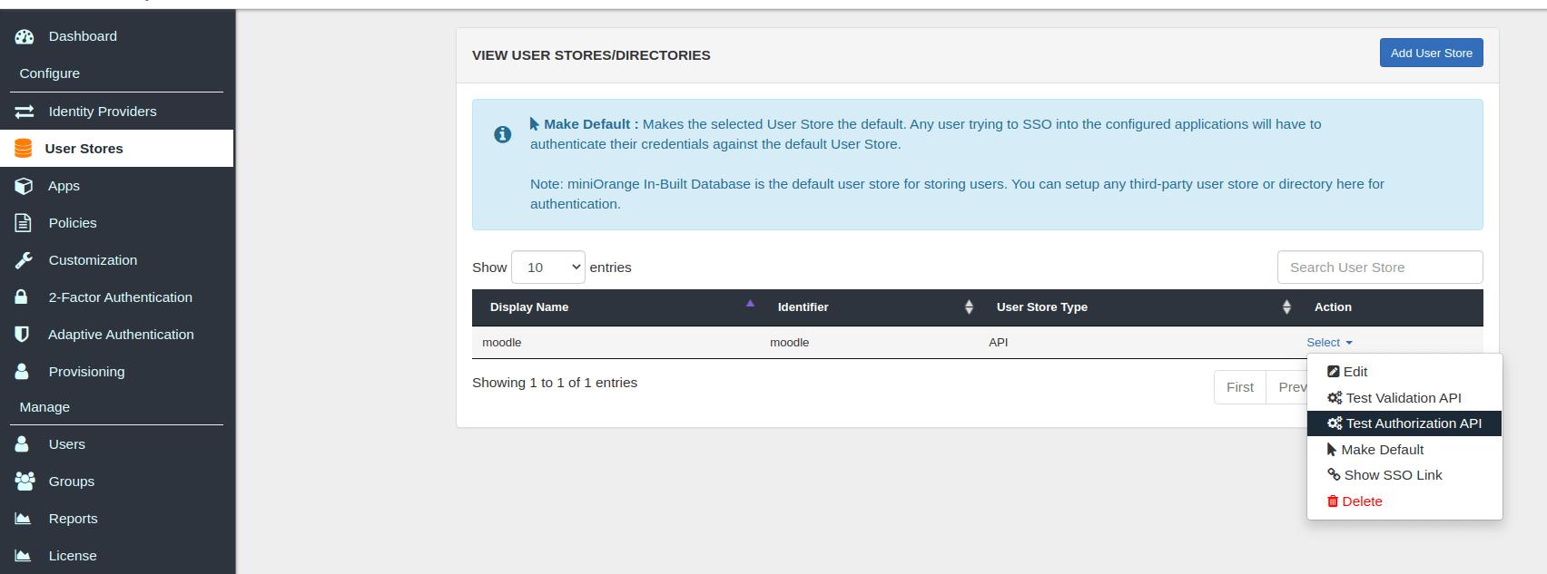 Test authorization api for Moodle SSO login
