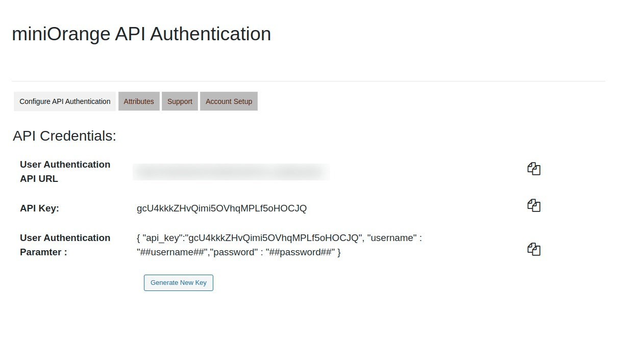 Copy User Authentication URL from Moodle API Plugin