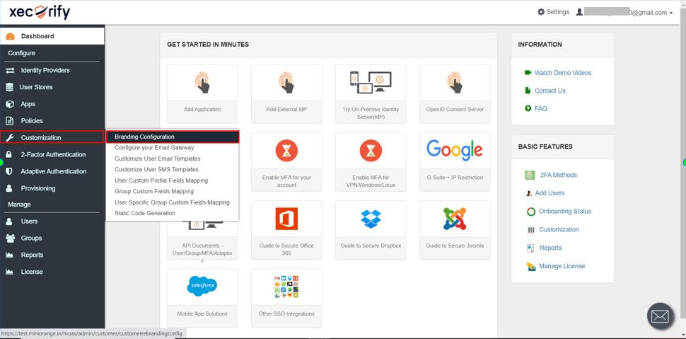 select branding customizations