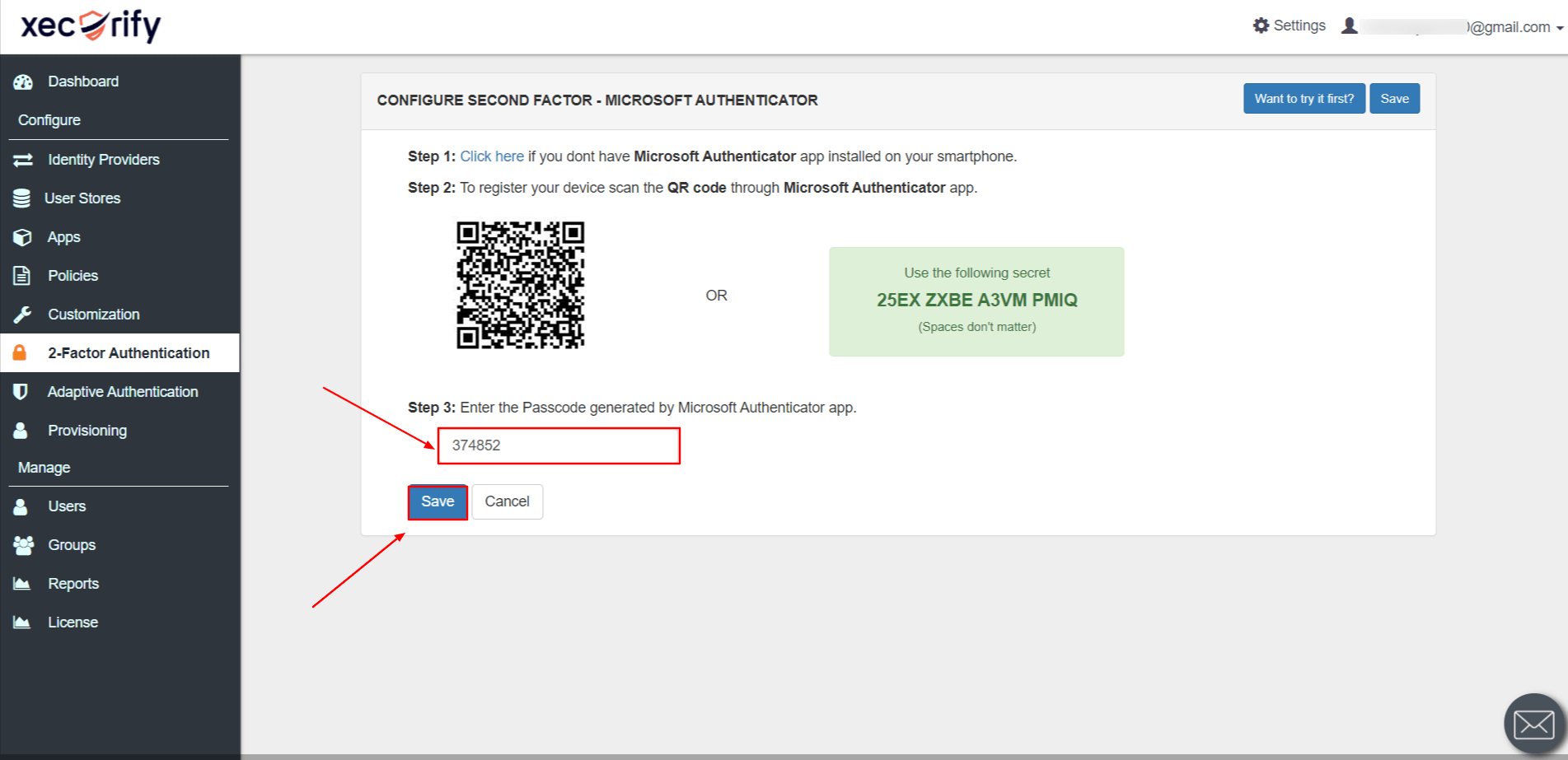 Enter passcode generated by Microsoft Authenticator App