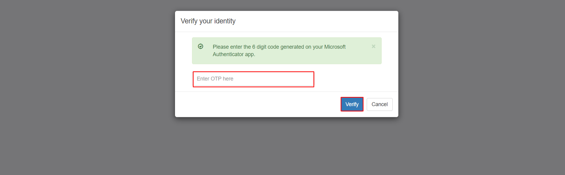Enter OTP generated from Microsoft Authenticator