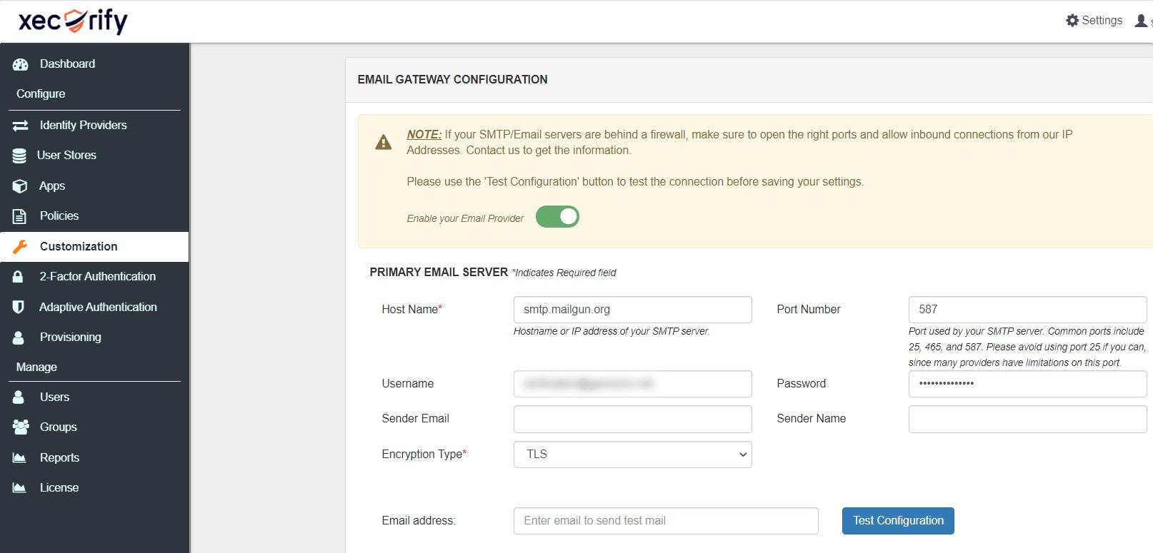 Mailgun SMTP set-up