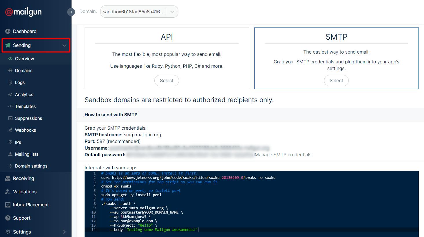 Mailgun SMTP dashboard