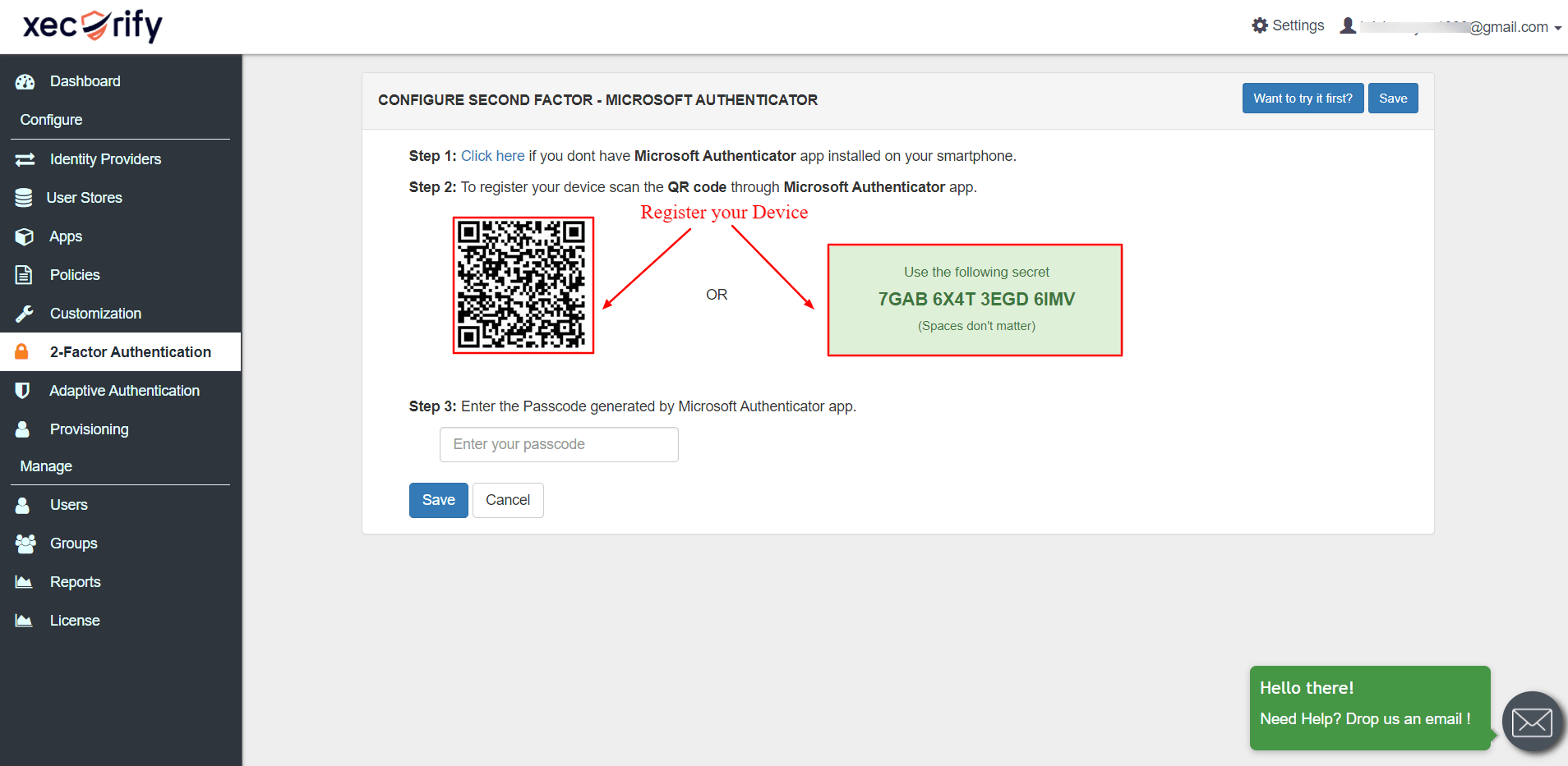 Scan QR code to register device for authentication