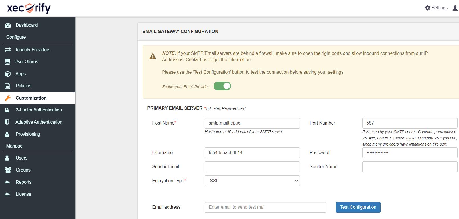 MailTrap SMTP set-up