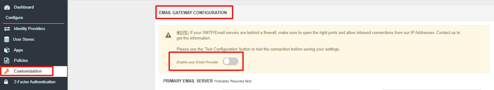 Enable miniOrange SMTP