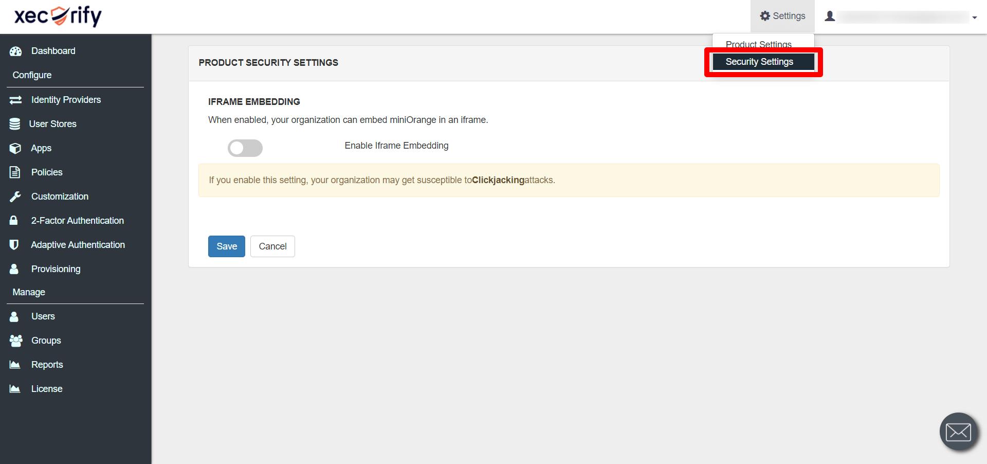 IDP admin product settings
